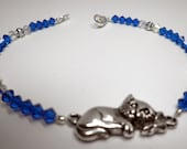 Swarovski Crystal Blue Cat Anklet