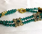 Emerald Green Swarovski Crystal 2 Strand Bracelet with Butterfly Sliders