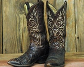 Reptile - Vintage 70s Dan Post Cowboy Boots - Men's 9.5 / Women's 11