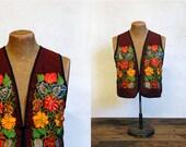 1970s Vintage Embroidered Vest // Bohemian Garden