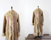 1960s Afghani Fur Jacket / Vintage Bohemian Hippie Coat