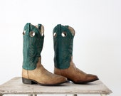 1970s Leather Riding Boots // Western Boots //  Men's 10