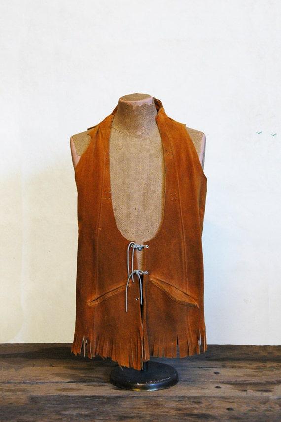 1970s Suede Vest // Rocker Vest // Vintage Leather Vest