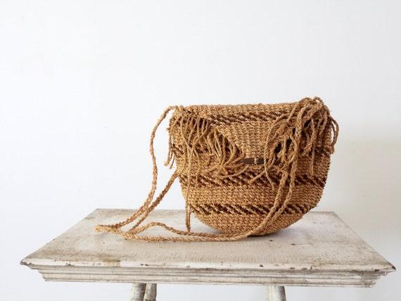 1970s Woven Bag // Vintage Crotchet Bag // Natural Tote