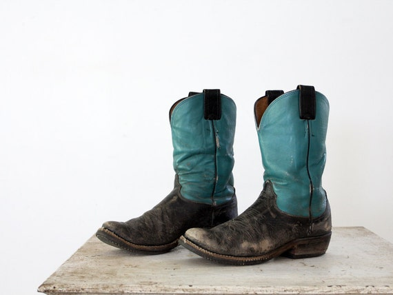 1960s Olathe Boots // Turquoise Leather // Vintage Western Boots // Men's 8.5 / Women's 10