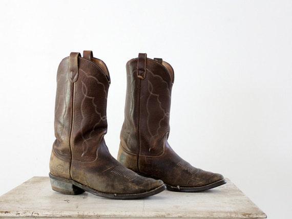 Vintage Western Boots / Mens Cowboy Boots / Size 9.5 E