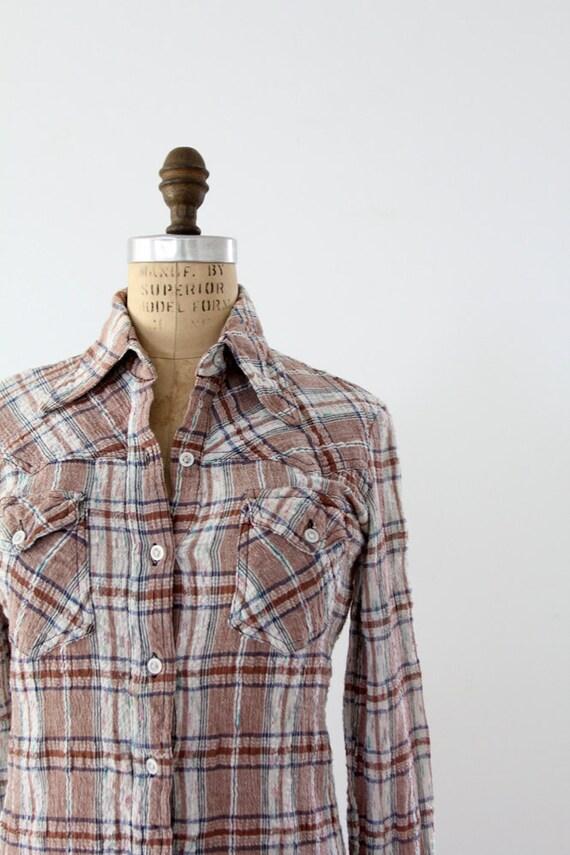 1970s Plaid Shirt // Vintage Gauze Cotton Button Up