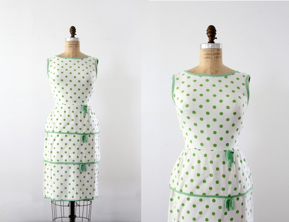 1950s Polka Dot Dress // Vintage Wiggle Dress