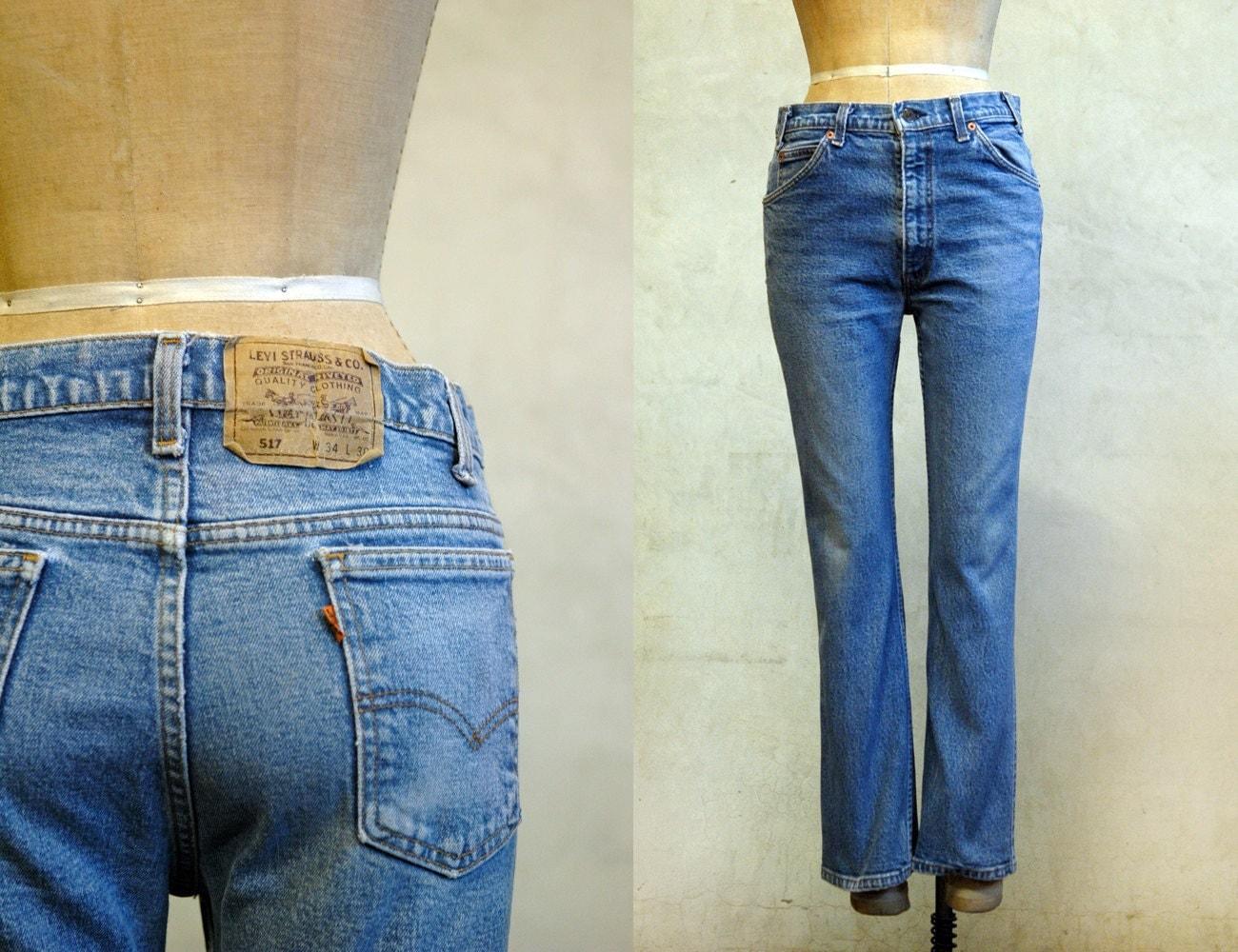 levis 517 denim jeans vintage 80s levis 33x28. Black Bedroom Furniture Sets. Home Design Ideas