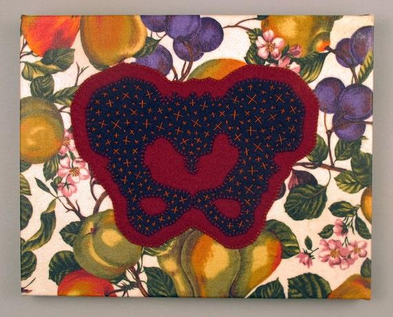 Fruit of the Loin Stitched Felt Applique Canvas Artwork