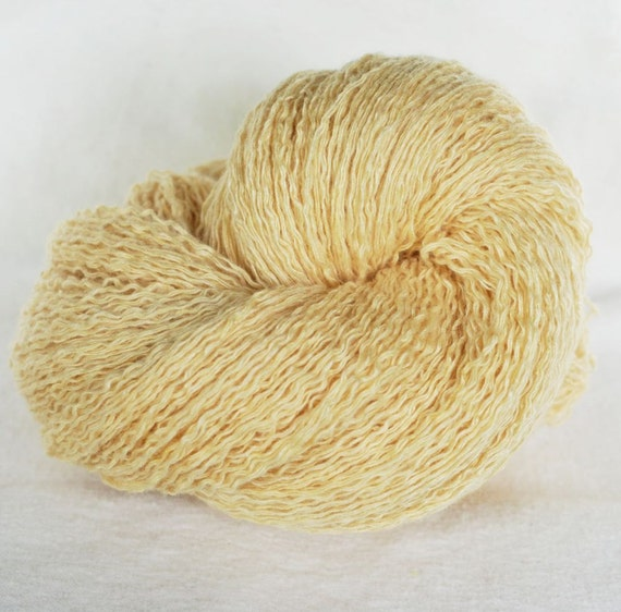 Cashmere Silk Rayon  Recycled Yarn, Soft Yellow, Worsted Weight, 210 yards