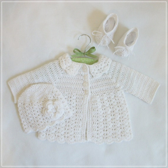 Crocheted Infant White Lacy Sweater Set, 3M-6M