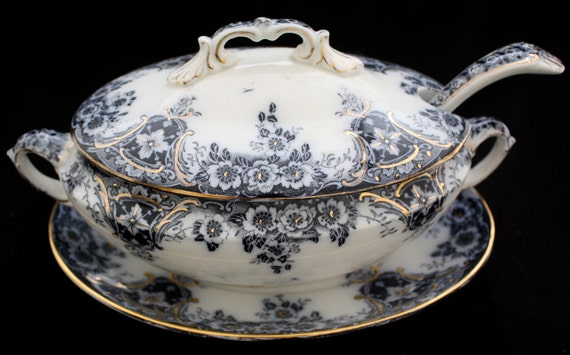 Vintage Flow Blue Transferware Gravy Tureen and Platter and Ladle