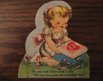 MECHANICAL, Vintage 1950s Valentine MOVES puppy in package for girl with BONUS adult card