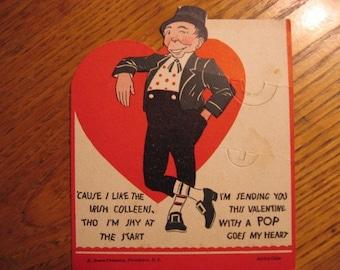 Luck of the Irish that this survived,  Vintage ROSEN large lollipop holder Valentine, Irish, 1930s 40s
