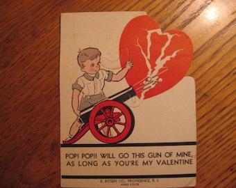 LOADS of Valentines in shop, Rosen  1930s Valentine cardboard  LOLLIpop holder, 1930s 40s, Great Cannon gun graphic