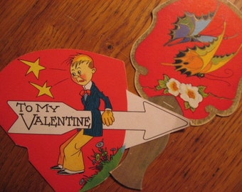 Two Circa 1930s 1940s XL ODD Valentines, Bridge Game Score Card, Former Woman Hater Valentine, super cardboard like graphics Whimsical DECOR