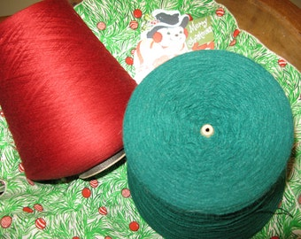 General Store Ambiance, for Vignette Red Green Vintage Yarn & Thread, 2 Hugantic Spools for Primitive Country  decor, needlework, fiber art