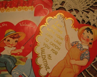 Go Fish, Pair 1936, 1951 diecut little boy, maybe girl, fishing valentine cards, Great vintage graphics, see shop 4 MORE