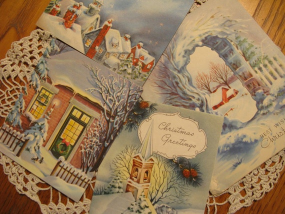 Blue Moonlit  Snow Winter or Christmas card vignette, Instant Collection for Vintage  Christmas Decor, 1940s-50s MORE in shop