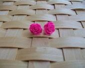Fuchsia Rose Stud Earrings