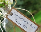 Unique Personalized Wedding Favor - Tiny Apothecary Bottle w/ Custom Tag - Bride & Groom Names w/ Wedding Date