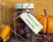 Fall Winter Wedding Favor - Custom Mini Mason Jars - Mini Mason Jar with Custom Bride & Groom + Date Tag - Rustic, Vintage-Inspired, Natural