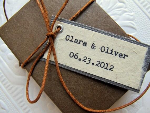 Wedding Favor Tags, Bridal Shower Tags - Typewriter Typed Bride & Groom Names + Date - Vintage, Natural, Boho, Simple - Custom Colors