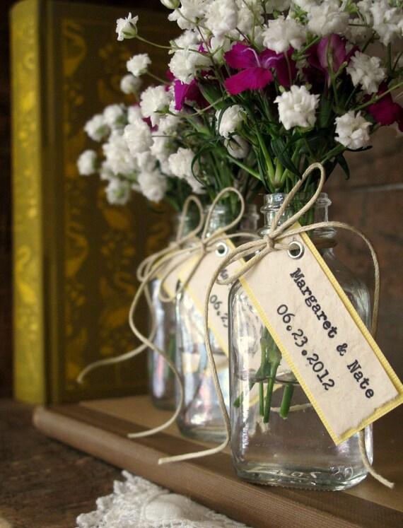 Bridal Shower Favor, Wedding Favor - Bride & Groom Names w/ Wedding Date - Rustic Woodland Farm Boho Vintage-Inspired Natural