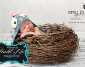 "Birds nest photography prop ""Light Feathers""-Newborn photography prop-Infant photography prop"