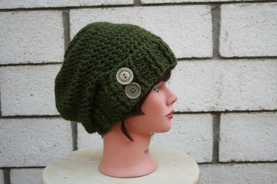 Green Crocheted Slouch Hat with Buttons