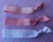 Elastic Hair Ties- Pink and White Damask