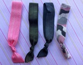 Grey and Pink Camouflage Collection Elastic Hair Ties