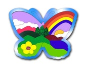 Childs Wood Puzzle | Butterfly Shaped Nature Scene