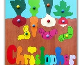 Wooden Name Puzzle | Vegetables and Worms