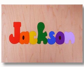 Wooden Name Puzzle | One Capital/Lower Case Name on Natural Wood Background