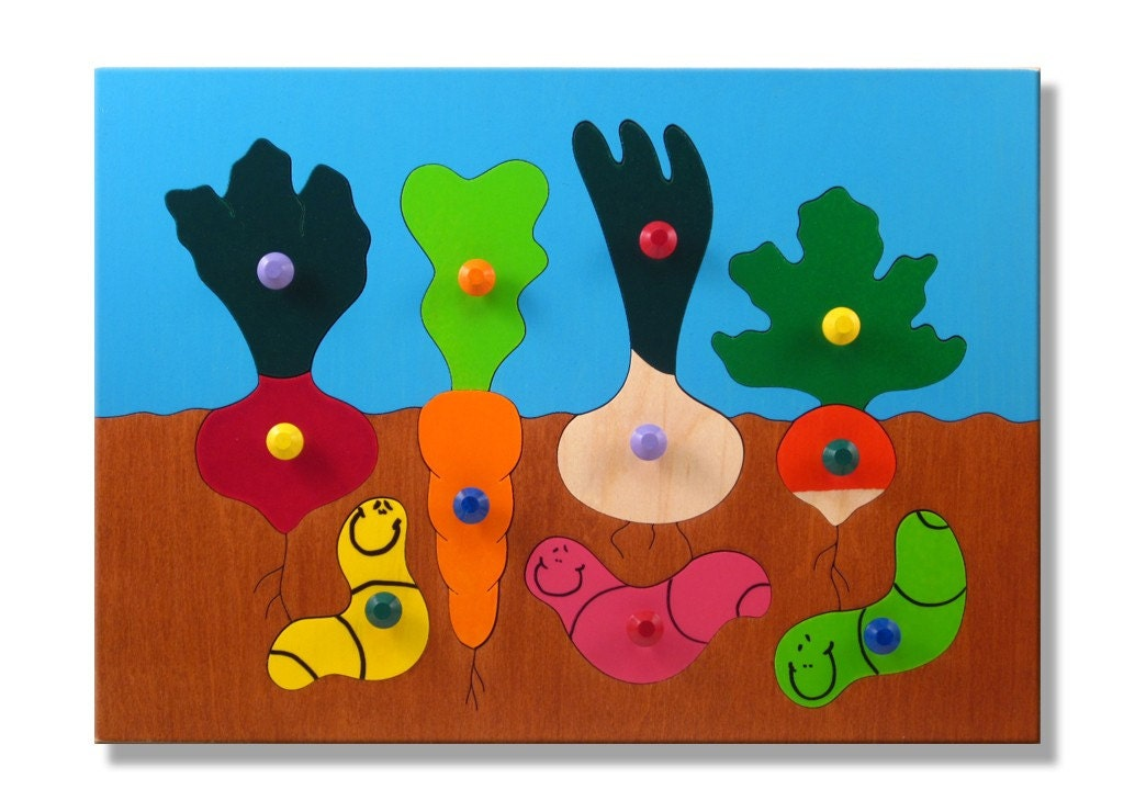Wooden Peg Puzzle with Knobs Gardening with Vegetables and Wooden Toddler Puzzle