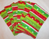 4 Flannel / Minky Cloth Diaper Wipes - Holiday Print