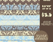 buy2get1 8.5x11 digital graphic for scrapbooking, card making, printing - sky blue damasks