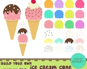 buy2get1 ice cream clipart set - build your own ice cream cone