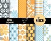 digital paper pack for scrapbooking, card making, printing - alice buy2get1