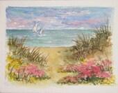 Ocean Dunes ACEO Watercolor Print by Carla Garloff  Last Print