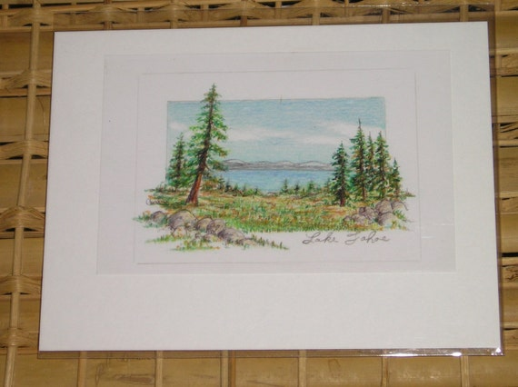 Lake Tahoe California in Colored Pencil ACEO print by Carla Garloff