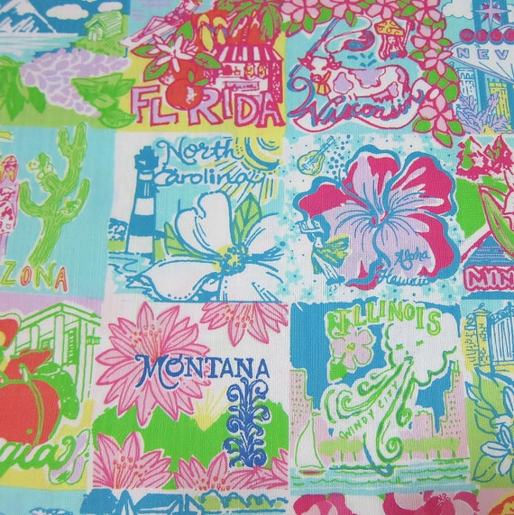 Authentic New Lilly Pulitzer 2012 Spring Multi Lilly State Of Mind Patch 1 Yard x 57 inches