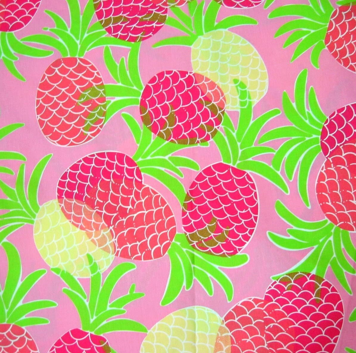 Authentic New Lilly Pulitzer Fabric Pineapples 1 Yard X 43