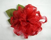 Red Organza Zinnia with Felt Leaves - Handmade Ribbon Flower - Brooch, Pin, Hair Clip, Shoe Clips, Headband