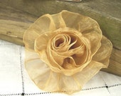 Organza Rose in Gold - Handmade Ribbon Flower - Brooch, Pin, Hair Clip, Shoe Clips - Pick Your Color