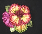 Ruched Ombre Ribbon Flower Pin Brooch Corsage Hair Shoe Clip - Fall Autumn Colors