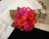 Organza Zinnia, Mum, Pom - Sunset Colors - Pin Brooch - Pick Your Colors - School, College, Team, Sorority