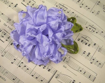 Vintage Style Crinkled Rayon Ribbon Flower Pin, Brooch in Lavender - Victorian Charm